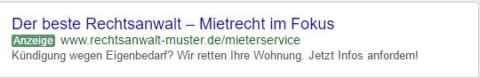 Keyword Advertising-Beispiel: So könnte Ihre Google-Anzeige aussehen.